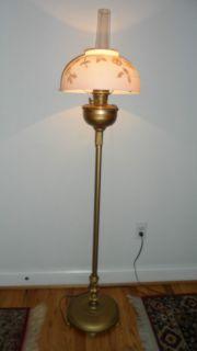 RARE Antique Aladdin Model B Floor Kerosene Lamp w Shade Chimney