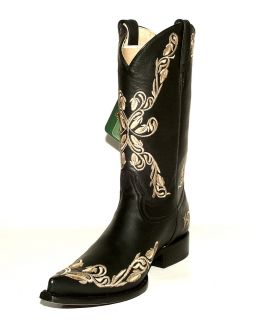 Black Chihuahua Western Boots w Grasso Flowered Embroidery