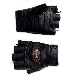 New Harley Davidson Fingerless Leather Riding Gloves Mens L Large