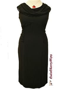Simply Be Sexy Retro 40s Pin Up Wiggle Dress 28 Black Plus Size
