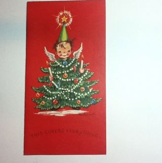 Vintage Eve Rockwell Xmas Greeting Card Angels Wearing Holiday Tree
