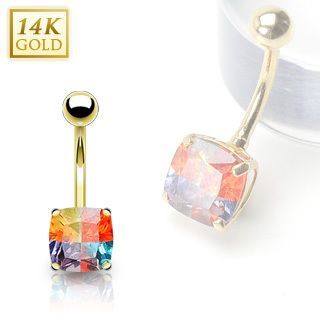 14k Solid Gold Belly Navel Ring Body Jewelry Square Gem