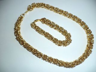 Premier Designs Gold Toned Chain Mail Maille Necklace & Bracelet EC