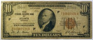 1929 $10 Federal Reserve Bank Note Atlanta GA Paper Money