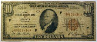 1929 $10 Federal Reserve Bank Note Atlanta GA Paper Money