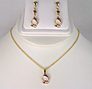 Set Gold 18K GF Hello Kitty Earrings Necklace Red Charm Girl