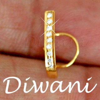 Gold Wedding Engagement Nose Stud Hoop Ring Body Piercing Pin