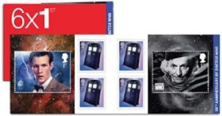 Dr Who Stamp Book 6 x 1st Matt Smith William Hartnell