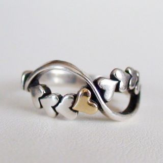 Rope of Hearts Sterling Silver and 14k Gold Ring Multiple Sizes