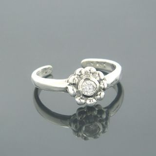Adjustable 14k Gold Diamond Toe Ring Flower 0 06ct