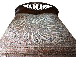 Cashmere Wool India Bedding Cream Bedspread Queen Bed Cover Blanket