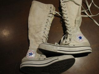 Mens 5 Womens 7 Converse All Star Vintage White Knee High Sneakers