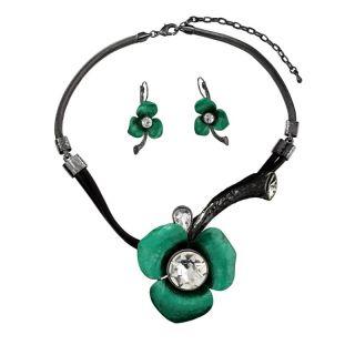 Rhinestone Metallic Green Flower Necklace Earrings Jewelry Set