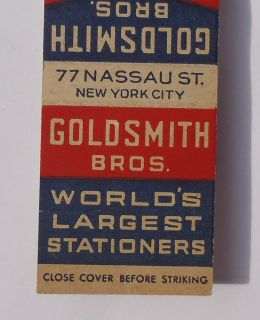 1940s Matchbook Goldsmith Bros. Department Store 77 Nassau St. NYC NY