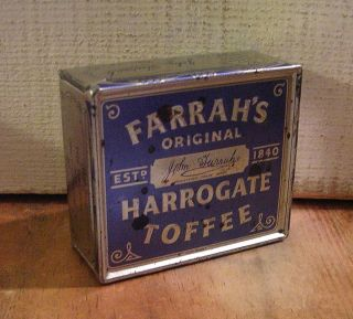 Small Vintage Blue Silver Toffee Tin Farrahs Harrogate Toffee