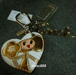 Coach Poppy Chan Goldy Heart Charm Key Fob Key Chain