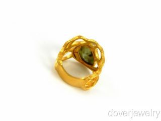 Italian Design Green Quartz 14k Gold Large Ring