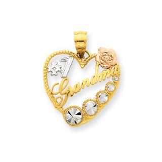 14k Yellow Rose Gold Rhodium Number 1 Grandma Heart Pendant