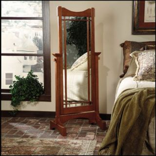 Powell Heirloom Cherry Cheval Mirror with Brass Accents