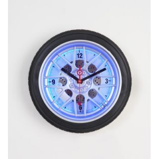 Maples Clock 14 Tire Wall Clock with Blue Neon Light   L2277 D14 BU
