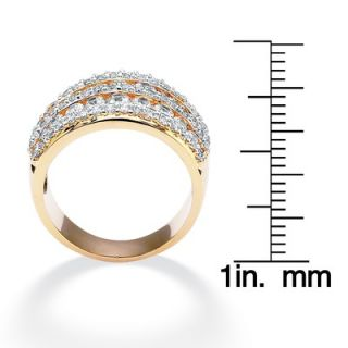 Palm Beach Jewelry 14k Gold Plated Cubic Zirconia Multi Row Ring