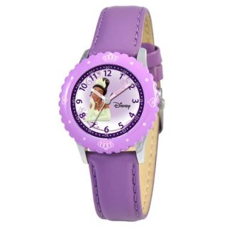 Disney Kids Tiana Time Teacher Watch in Purple Leather