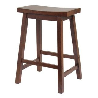 Winsome Saddle Seat 24 Counter Stool in Walnut