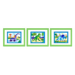 Olive Kids Dinosaur Land Print with Green Frame (Set of 3)   FG DINO