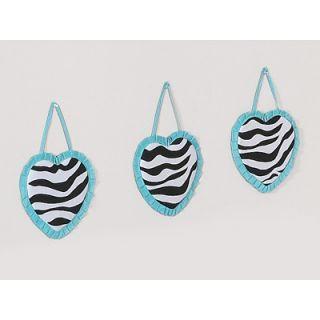 Sweet Jojo Designs Turquoise Funky Zebra Wall Hanging (Set of 3