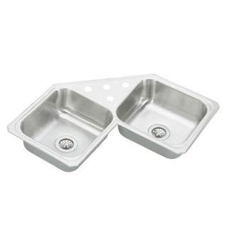 Elkay Celebrity 32 x 32 Double Bowl Self Rimming Corner Sink Set