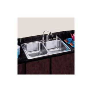 Elkay 22x 33 Self Rimming Stainless Steel Double Bowl Kitchen Sink