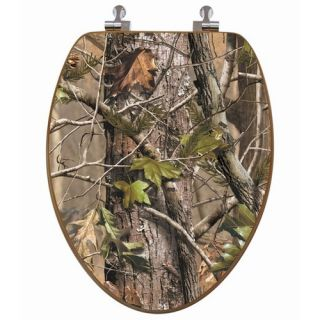 RealTree Camouflage Elongated Pink Camouflage on Oak Toilet Seat wi