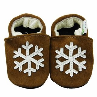 carozoo snowflake dark blue 12-18m soft soled leather baby shoes