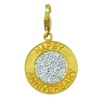 EZ Charms 14K 1.61 Grams Yellow Gold Diamond 0.08Ct Happy Anniversary