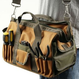 Trademark Global Rugged Nylon Multi Pocket Tool Bag with Shoulder