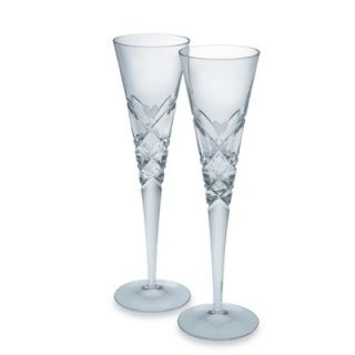 Reed & Barton Crystal Heart Champagne Flute Glass Pair