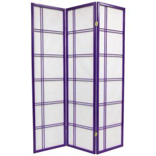 Oriental Furniture Double Cross Shoji Screen in Purple   DCSP Purple