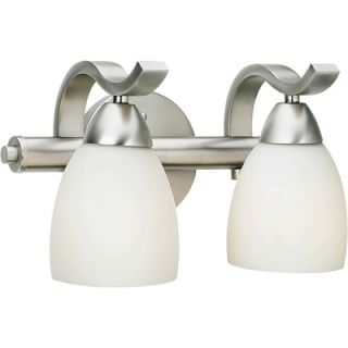 Forte Lighting Two Light Vanity Light with Satin Opal Glass in Brushed