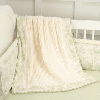Doodlefish Toile Green Crib Blanket   CribBlanketToileGreen