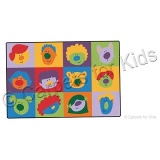Carpets for Kids Printed Friendly Faces Infant Toddler Kids Rug