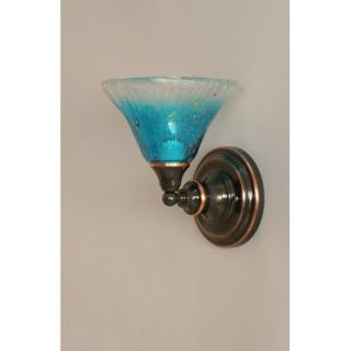 Toltec Lighting One Light Wall Sconce with Teal Crystal Glass in Black