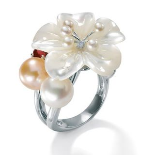 Palm Beach Jewelry Sterling Silver Mother Of Pearl Flower Ring