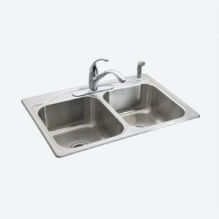 Kohler Cadence™ self rimming kitchen sink with four hole faucet