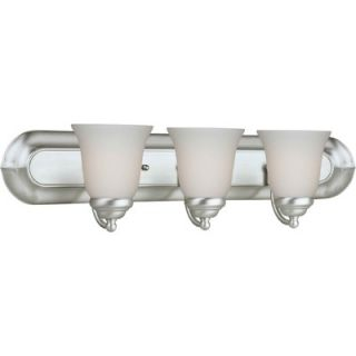 Forte Lighting Three Light Vanity Light with Satin Opal Shade in