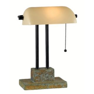 Kenroy Home Greenville One Light Banker Lamp in Natural Slate
