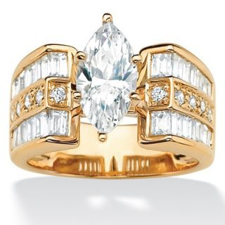 Palm Beach Jewelry Sterling Silver/Gold Cubic Zirconia Ring