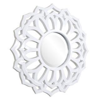 Howard Elliott Casey Round Mirror in White   2196W