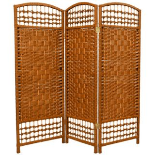 Oriental Furniture Fiber Weave 3 Panel Room Divider in Dyed Dark Beige