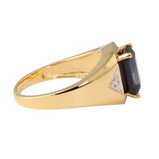 Palm Beach Jewelry 18k Gold/Silver Mens Lab Created Sapphire Ring