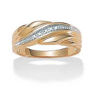 Palm Beach Jewelry Sterling Silver Mens Diamond Accent Wedding Band